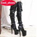 Женщины Супер Высокие Каблуки Платформы Сексуальная Модель Обувь Бедра Сапоги Мода тонкие Каблуки Над Коленом Круглого Toe Pole Dancing Shoes 912