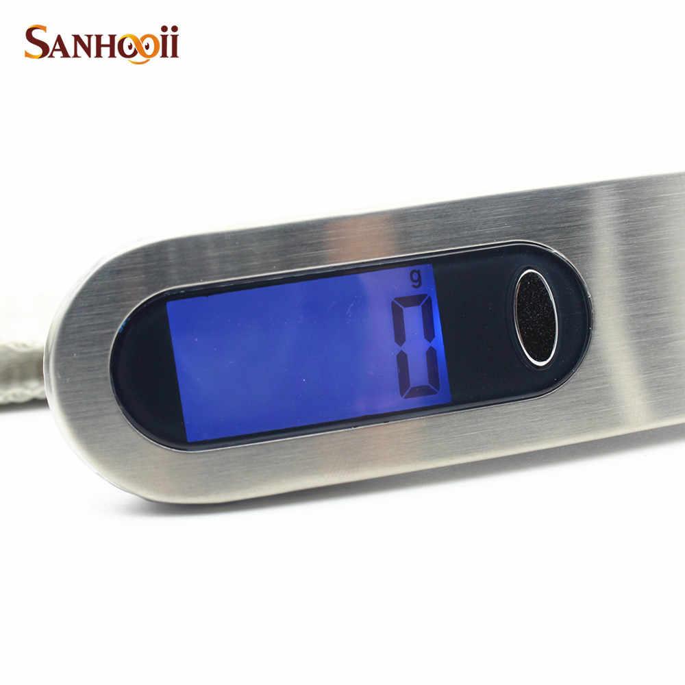 SANHOOII Ferramentas de Medição Para O Curso 50 kg/10g g/kg/lb/oz Aço Inoxidável LCD com Back Light Escala Bagagem Digital de