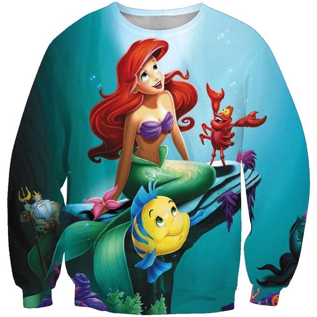 PLstar Cosmos 2019 New Fashion Men / Women 3d Sweatshirt Cartoon Mermaid Princess Print Unisex Casual O-Neck sweatshirts