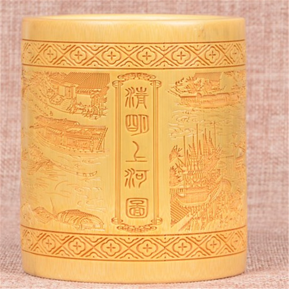 Creative Bamboo Carving Round Pen Holders Chinese Style Classical art Pencil Container Education Office Decoration Gift