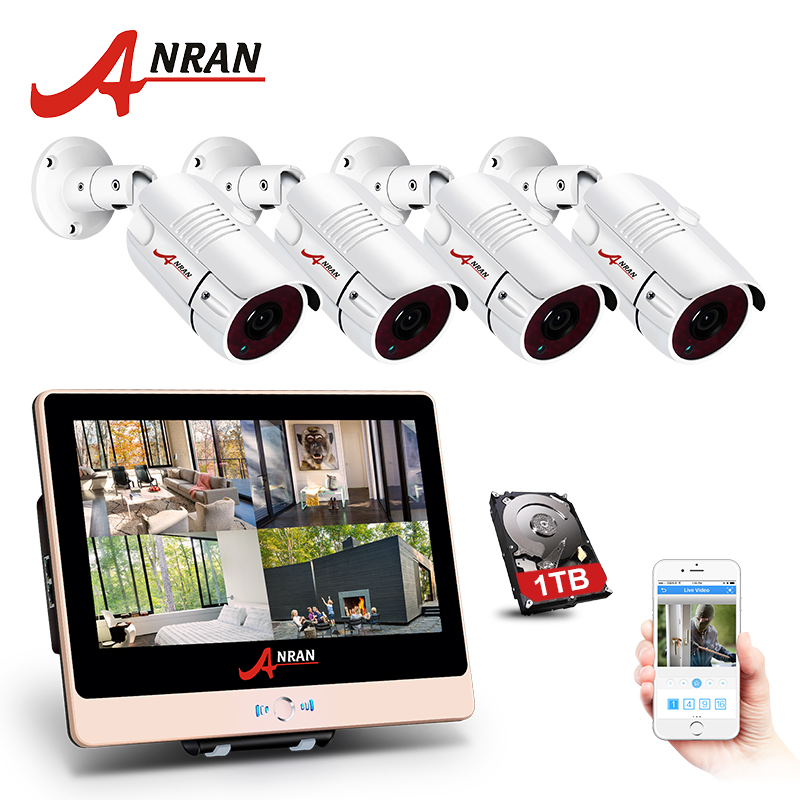 ANRAN 4CH CCTV System 1080P 12 LCD Monitor HD NVR Video Surveillance Kit IP Camera Outdoor Security Camera System With 1TB HDD zosi 1080p 8ch tvi dvr with 8x 1080p hd outdoor home security video surveillance camera system 2tb hard drive white
