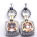 New Morganite Woman 925 Sterling Silver Crystal Earrings TE383
