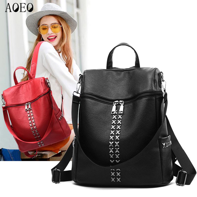 AOEO Vintage Backpack Female Double Zipper X Metal With Shoulder Strap Women PU Leather Bags For Girls School Backpacks Woman zipper front pu backpack with convertible strap