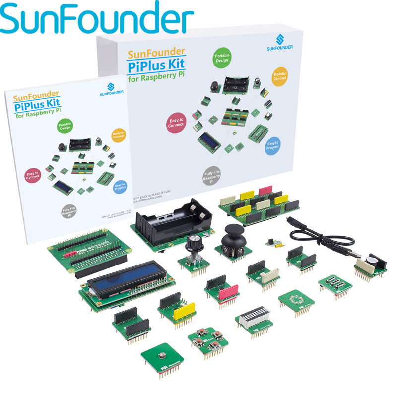 SunFounder PiPlus 15-in-1 STEM Learning Kit Electronics Building Block For for Raspberry Pi 3 2 and RPi 1 Model B Plus tengying l298n motor driver board for raspberry pi red