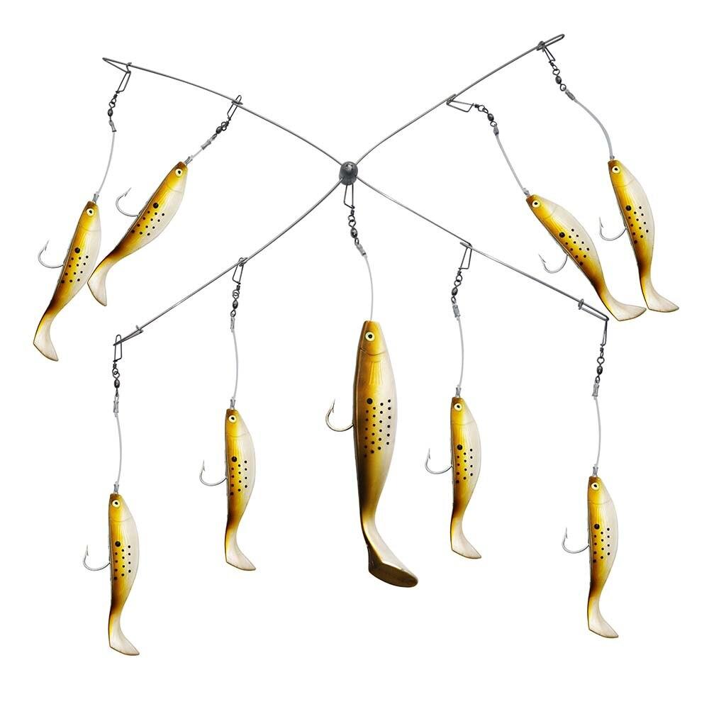 Grand appât combiné de pêche en mer leurres Marlin à la traîne le meilleur appareil de pêche parapluie en eau salée Snapper Shads + Tube de stockage