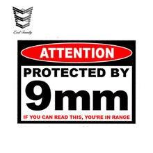 EARLFAMILY-pegatina de advertencia de 9mm para coche, funda de pistola segura, caja de munición, pegatina de modificación de 9mm, 13cm x 9,75 cm