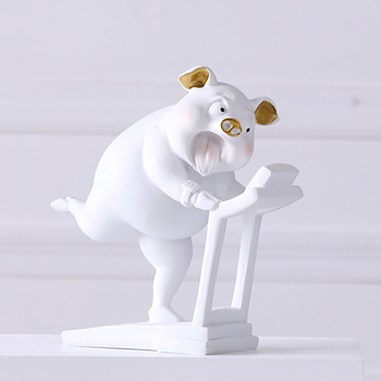 Europe Cute Sports Pig Figurines Tabletop Resin Handicrafts Home Decoration Accessories Creative Wedding Gifts R1880