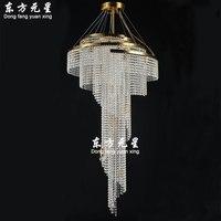 Kristall kronleuchter lampe licht lange spirale hängen treppenlicht verbindung gebäude villa electrolier lampe