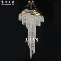 crystal chandelier lamp light long spiral hanging staircase lighting compound building villa electrolier lamp