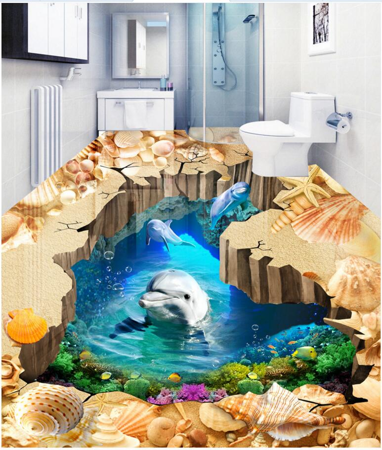Custom mural 3d flooring picture pvc self adhesive wallpaper Beach cave dolphin world decor painting 3d wall murals wallpaper custom mural 3d flooring picture pvc self adhesive european style marble texture parquet decor painting 3d wall murals wallpaper