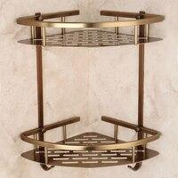Aluminum alloy bathroom corner shelf wall mount bathroom basket holder antique bathroom shelves toilet storage rack