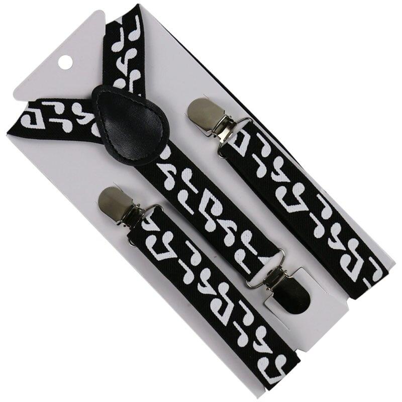 HUOBAO Fashion 2.5cm Wide Musical Note Children Suits Suspender Y-Back Shirts Kids Suspenders Baby Strap Braces 3 Clip Suspender
