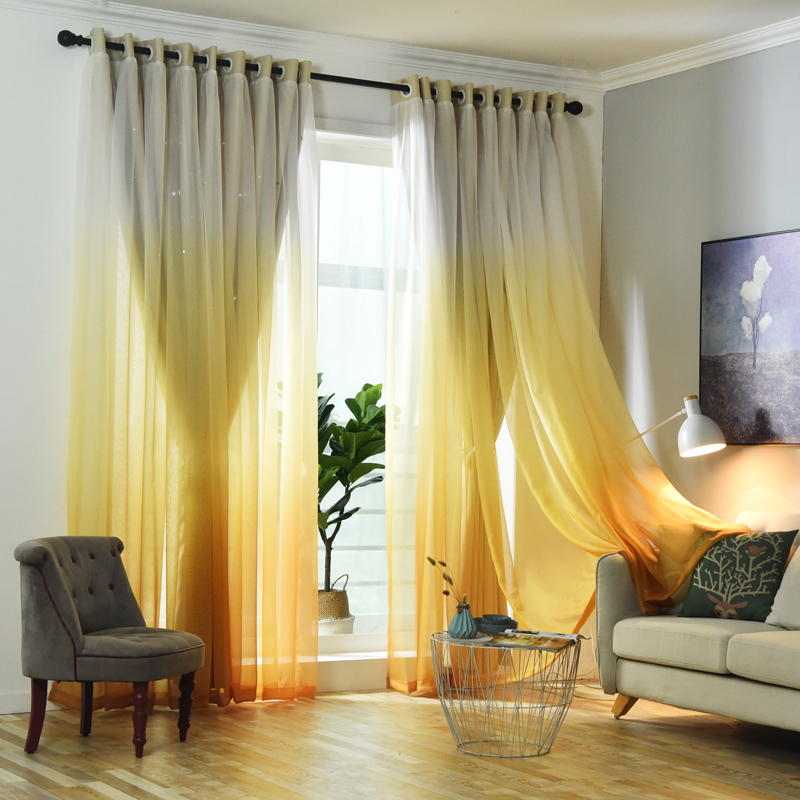 SunnyRain 1 Piece Gradient Rramp Hollow out Stars Curtain For Bedroom Double layer Blackout Curtains For Kids Room