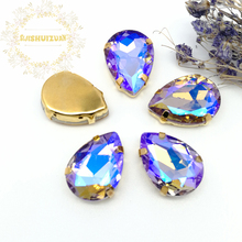 Crystal violet AB Dazzle color Water drop Glass sew on rhinestones with GOLD four claw Diy weddingdress Free shipping