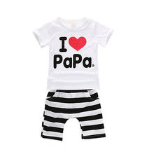 Retail 1set! 2015 Children Clothing Summer Set boys girls I Love Papa and Mama short sleeve t-shirt+pants suit kids pajamas set