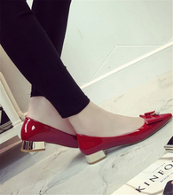 2016 new spring and summer diamond bow thick with low heeled red shoes pointed Korean fashion