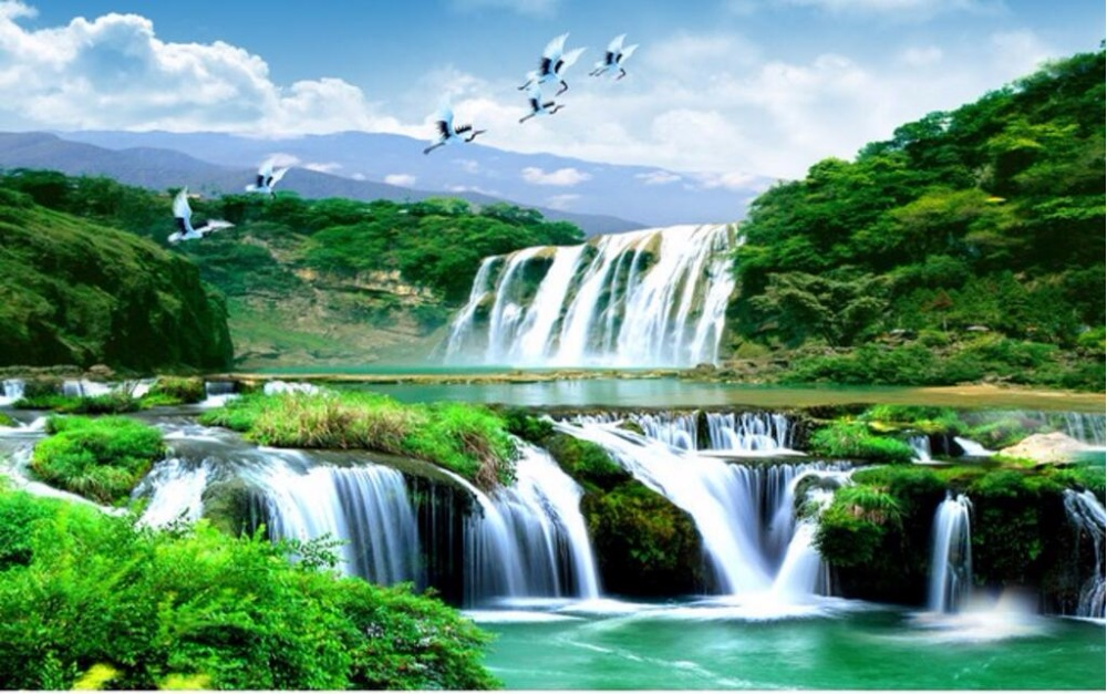 Custom Photo 3d Room Wallpaper Chinese Mountain Waterfall White Crane Scenery Painting Wall Murals For Walls 3 D In Wallpapers From Home