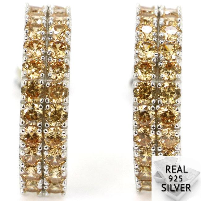 Earrings Golden-Citrine 925 Solid-Sterling-Silver CZ Real-3.5g Top Present Ravishing