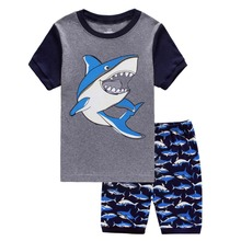 Hot Sale Brand Boys Clothing Children Summer Boys Clothes Cartoon Shark Kids Boy Clothing Set short T-shit+long Pants Cotton цены