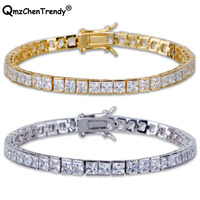 Top Quality Hip Hop Chain Electroplated Single Row Square Cubic Zirconia Copper Bracelets For Men Iced Out Shiny Bling Jewelry