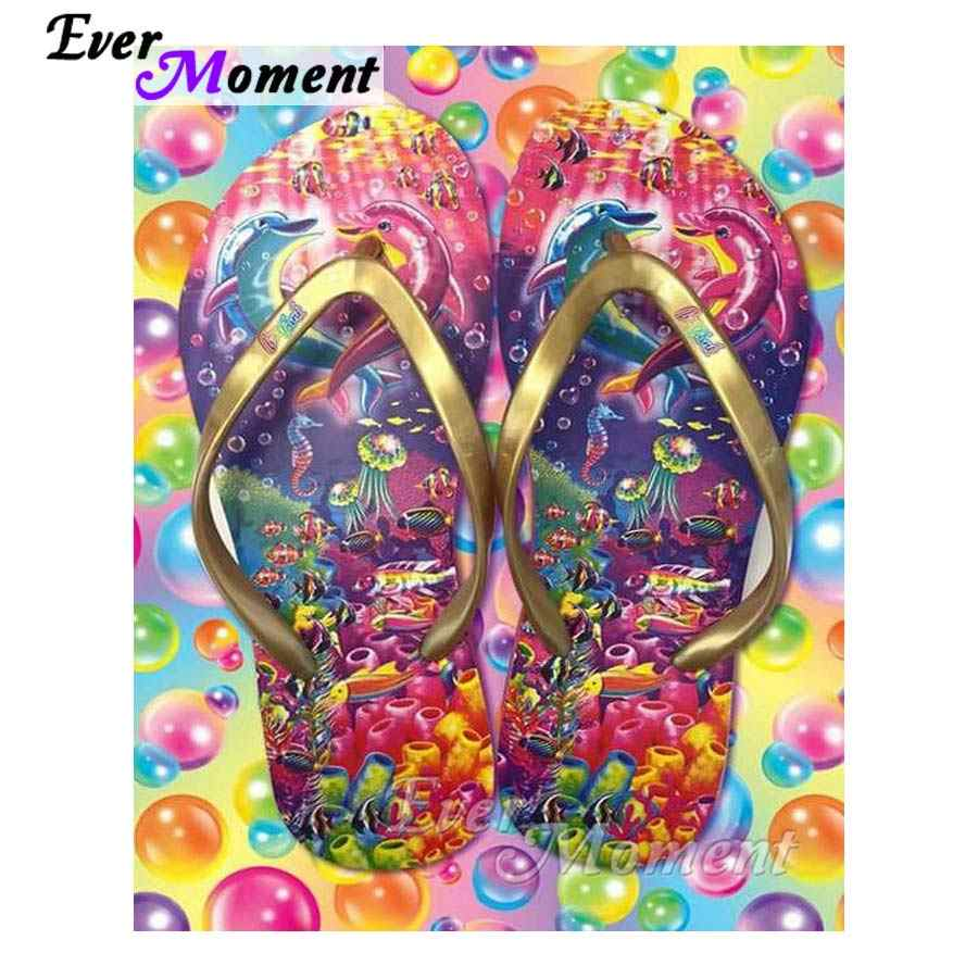 Ever Moment 5D DIY Diamond Painting Handmade Slipper Sea World Dolphin Full Square Diamond Embroidery Picture Mosaic S2F129
