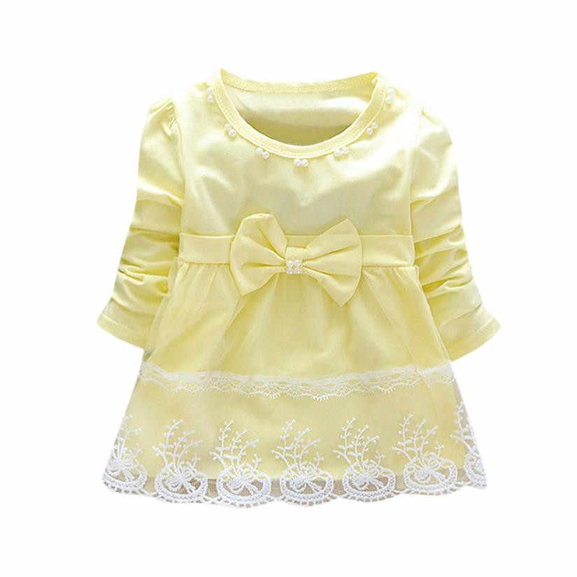 7af7dfe5 ... High quality Cute Toddler Baby Girls Bowknot Lace Long Sleeve Princess  Elegant Tutu Dress girl winter ...