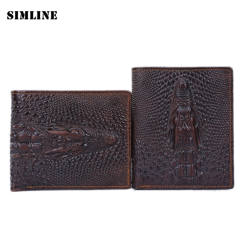 Brand Vintage Crocodile Alligator Genuine Cow Leather Men Mens Male Short Small Bifold Wallet Wallets Purse Card Holder For Man