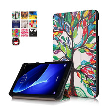 For Samsung Galaxy Tab A 10.1 T585 T580 Tablet funda cases Color Painted PU Leather TAB A6 10.1 inch Magnetic Smart Sleep Cover