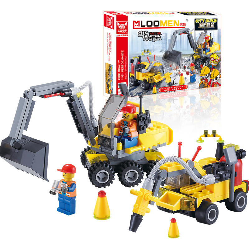 J319 Gift For Kids!196pcs DIY City Engineering Team Assemble Toy Excavator Small Particles Building Blocks Early Educational Toy 196pcs building blocks urban engineering team excavator modeling design