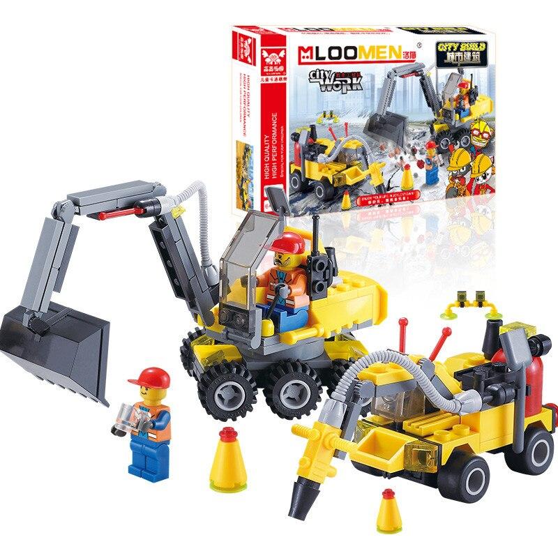 J319 Gift For Kids 196pcs DIY City Engineering Team Assemble font b Toy b font Excavator