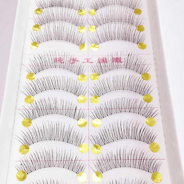 Muito Longo Cílios Postiços 10 Pares Makeup Natural Falso Grosso Eye Lashes Preto Nautral Artesanal Ferramentas de Beleza