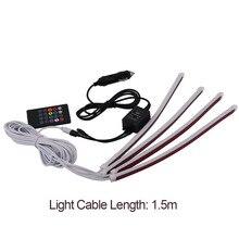 Мягкие резиновые автомобиль RGB Светодиодные ленты легкая музыка Управление Светодиодные ленты фары автомобиля укладки атмосферу Лампы для мотоциклов салона света с дистанционным