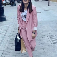Yojoceli pink plaid blazers coats women streetwear double breasted blazers jacketes female streetwear tops