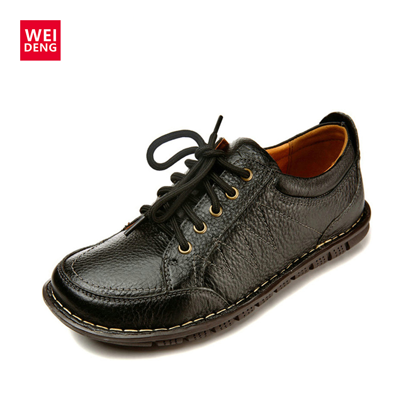 WeiDeng Genuine Leather Shoes Soft British Oxford Lace Up Fashion Men Shoes  Slip On Dress Office Shoes Working 2017 men shoes fashion genuine leather oxfords shoes men s flats lace up men dress shoes spring autumn hombre wedding sapatos