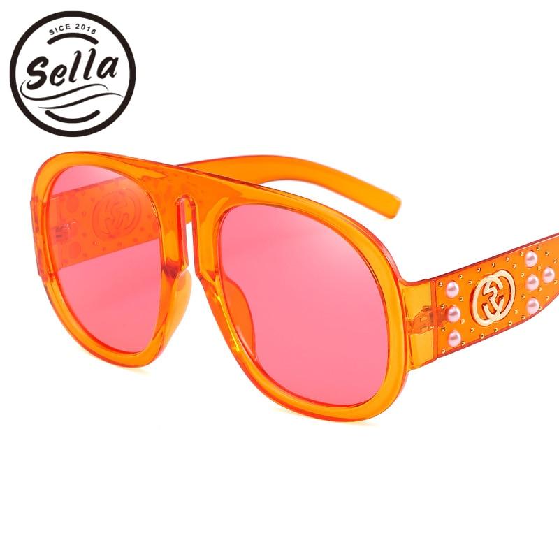 2018 Sella Neue Trend Frauen Oversize Retro Runde Sonnenbrille Transparent Rahmen Bunte Farbton Objektiv Perle Dekoration Sonnenbrille