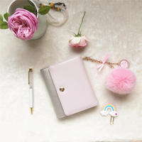 K KBOOK 100 Cowhide Genuine Leather Notebook A6 B6 3 Folds Planner Gold And Pink Agenda