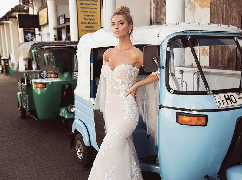 Bretelles Spaghetti plage robe De mariée Lorie 2019 dentelle Appliques Illusion Boho robes De mariée Vestido De Novia robes De mariée - 3