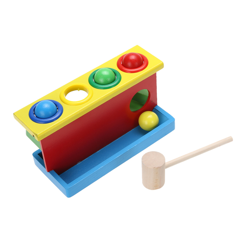 Baby Kids Hammering Wooden Ball Hammer Box Toy Children Early Learning Educational Blocks Toys free ship 1 set of 100pc children kids natural wooden build blocks montessori sensorial early development educational material