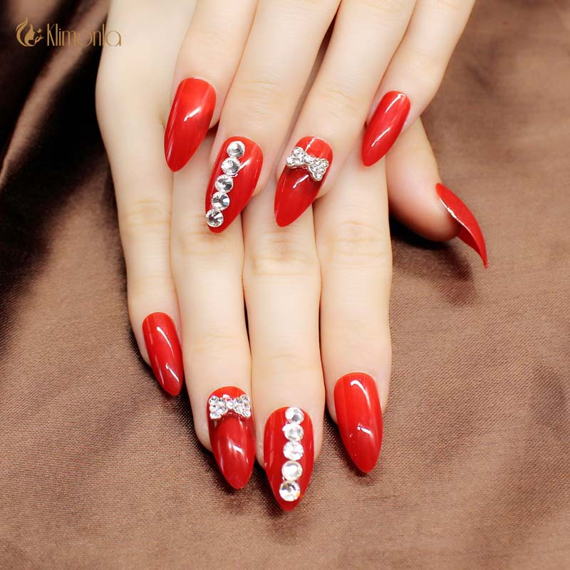 2019 New Fashion 3D Red False Nails Pre Designs With