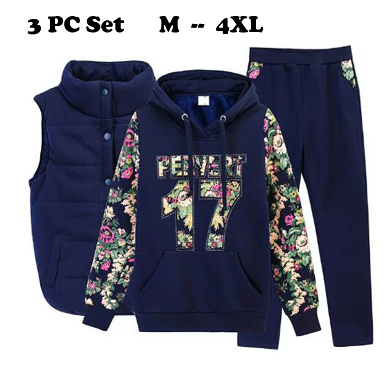 2019 Women Suit Tracksuit Winter 3 Piece Set Hoodies + Vest + Pants Women's Costume Plus Velvet Sporting Suits Female Costume
