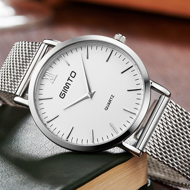 GIMTO New Top Luxury Watch Men Men's Watches Ultra Thin Stainless Steel Mesh Band Quartz Wristwatch Fashion casual watches bestdon new top luxury watch men brand men s watches ultra thin stainless steel mesh band quartz wristwatch fashion casual clock