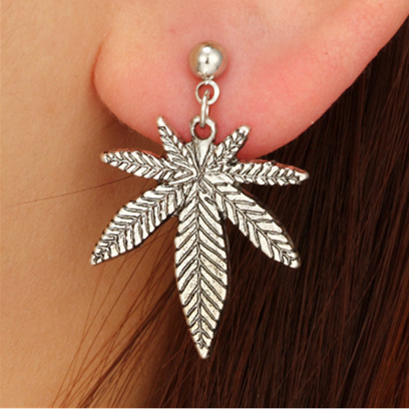 2019 new Trendy Silver Color Hemp leaf leaves Acrylic Earrings For Women Hyperbole Nightclub Unique Bohemian Leaf Drop Earrings