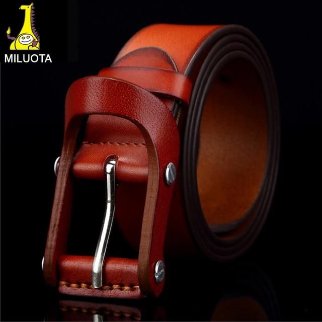 [MILUOTA] alta calidad 100% piel de vaca pura moda cinturones de cuero Genuino para los hombres de la vendimia para hombre cinturones de lujo cinto feminino RS02