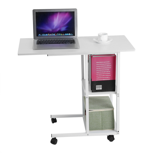 Portable Removable Laptop Desk Sofa Books Snack Computer Learning Notebook  Bed Table With Wheels Home Office