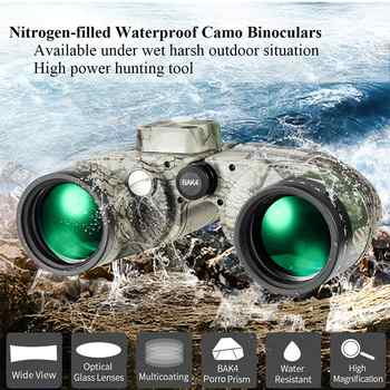 Waterproof fogproof Binoculars Boshile 10x50 Navy telescopio with rangefinder Compass Reticle Illuminant night vision Telescope