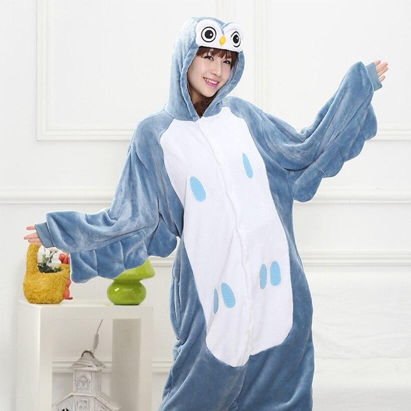 Мать Отец дочь мальчик Платья для женщин Семейные комплекты пижамы с капюшоном пижамы мультфильм животных Синий Сова партии Косплэй пижамы...