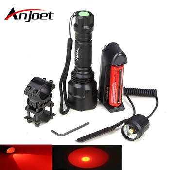 Anjoet Hunting LED Flashlight RED Light Lighting Tactical Lantern C8 + Remote Pressure Switch+ Gun Mount 18650 Battery charger