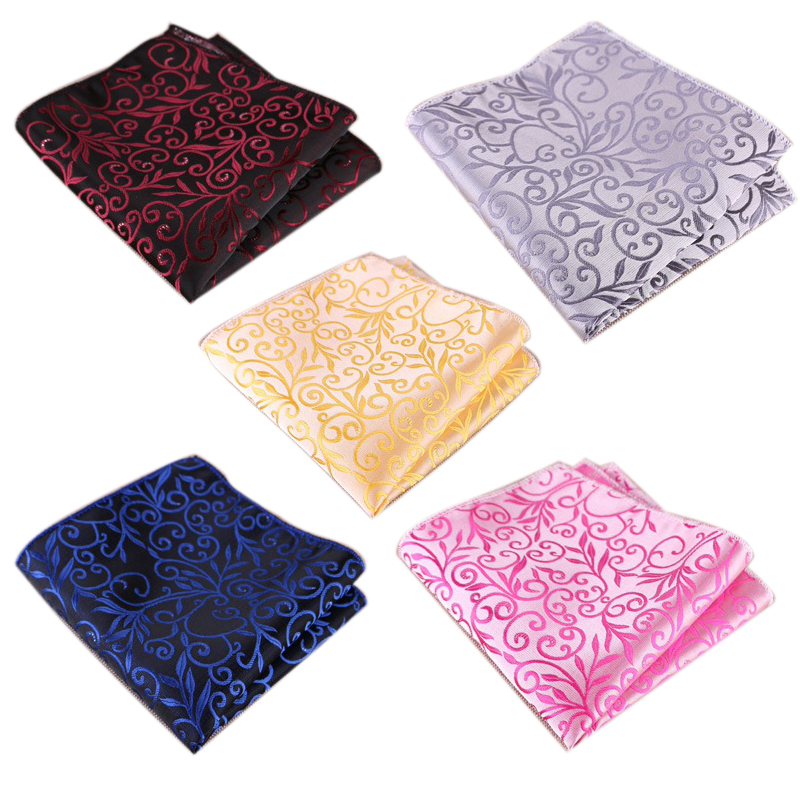 High Quality Smooth Floral Pockets Squares Polyester Flower Print Handkerchiefs Wedding Accessories
