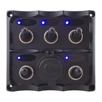VODOOL 12 24V 5 Gang LED Blue Light Car Boat Toggle Switch Panel Power Socket Vehicle RV Yacht ON/OFF Switch With Fuse Protector