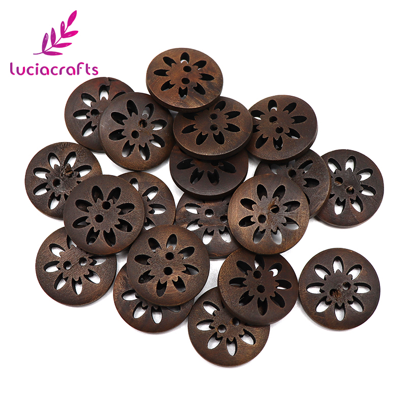Lucia crafts 6pcs/24pcs 2.3cm Wooden Buttons Sewing 2-Holes Natural Brown Wood Round Button Flatback Scrapbooking 004010066